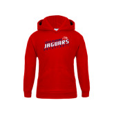 Youth Red Fleece Hoodie-South Alabama Jaguars Basketball Slanted