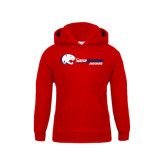 Youth Red Fleece Hoodie-Jaguar Head w/ Flat Logo