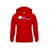 Youth Red Fleece Hood-Jaguar Head w/ Flat Logo
