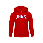 Youth Red Fleece Hood-Jags Arched