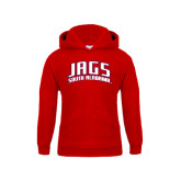 Youth Red Fleece Hoodie-Jags South Alabama Arched