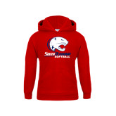 Youth Red Fleece Hoodie-Softball