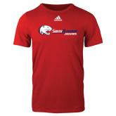 Adidas Red Logo T Shirt-Jaguar Head w/ Flat Logo