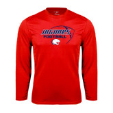 Performance Red Longsleeve Shirt-Jaguars Football Stacked