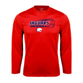 Performance Red Longsleeve Shirt-Jaguars Baseball Flying Ball