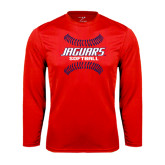 Performance Red Longsleeve Shirt-Jaguars Softball Seams Horizontal