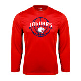Syntrel Performance Red Longsleeve Shirt-Jaguars Basketball In Ball