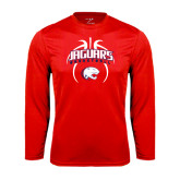 Performance Red Longsleeve Shirt-Jaguars Basketball Arched In Ball