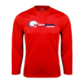 Syntrel Performance Red Longsleeve Shirt-Jaguar Head w/ Flat Logo