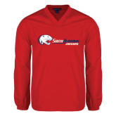V Neck Red Raglan Windshirt-Jaguar Head w/ Flat Logo