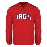 V Neck Red Raglan Windshirt-Jags Arched