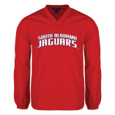 V Neck Red Raglan Windshirt-South Alabama Jaguars Arched