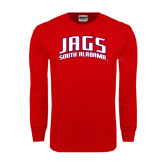 Red Long Sleeve T Shirt-Jags South Alabama Arched