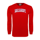 Red Long Sleeve T Shirt-South Alabama Jaguars Arched
