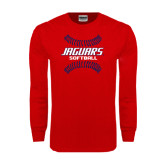 Red Long Sleeve T Shirt-Jaguars Softball Seams Horizontal