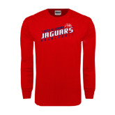 Red Long Sleeve T Shirt-South Alabama Jaguars Basketball Slanted