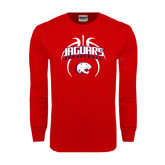 Red Long Sleeve T Shirt-Jaguars Basketball Arched In Ball