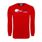 Red Long Sleeve T Shirt-Jaguar Head w/ Flat Logo