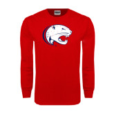 Red Long Sleeve T Shirt-Jag Head Distressed