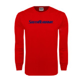 Red Long Sleeve T Shirt-South Alabama Flat Logo