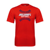 Performance Red Tee-Jaguars Softball Seams Horizontal