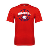 Performance Red Tee-Jaguars Basketball In Ball