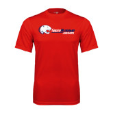 Performance Red Tee-Jaguar Head w/ Flat Logo