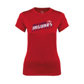 Ladies Syntrel Performance Red Tee-South Alabama Jaguars Basketball Slanted