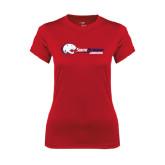 Ladies Syntrel Performance Red Tee-Jaguar Head w/ Flat Logo