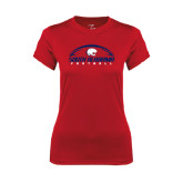 Ladies Syntrel Performance Red Tee-South Alabama Football Arched