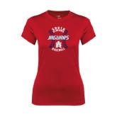 Ladies Syntrel Performance Red Tee-Jaguars Baseball Seams