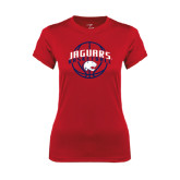 Ladies Syntrel Performance Red Tee-Jaguars Basketball In Ball