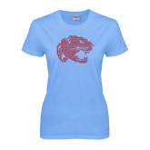 Ladies Sky Blue T Shirt-Jaguar Head Rhinestones