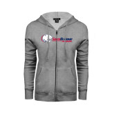 Ladies Grey Fleece Full Zip Hoodie-Jaguar Head w/ Flat Logo