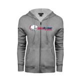 ENZA Ladies Grey Fleece Full Zip Hoodie-Jaguar Head w/ Flat Logo