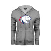 Ladies Grey Fleece Full Zip Hoodie-Jag Head