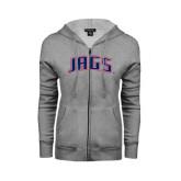 ENZA Ladies Grey Fleece Full Zip Hoodie-Jags Arched