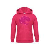 Youth Raspberry Fleece Hood-Jaguar Head Rhinestones