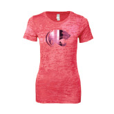 Next Level Ladies Junior Fit Fuchsia Burnout Tee-Jag Head Foil