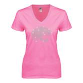 Next Level Ladies Junior Fit Ideal V Pink Tee-Jaguar Head Rhinestones