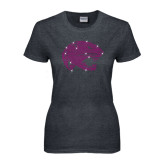 Ladies Dark Heather T Shirt-Jaguar Head Rhinestones