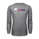 Grey Long Sleeve T Shirt-Jaguar Head w/ Flat Logo