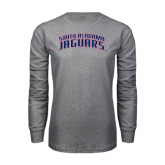 Grey Long Sleeve T Shirt-South Alabama Jaguars Arched