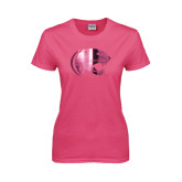 Ladies Fuchsia T Shirt-Jag Head Foil