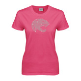 Ladies Fuchsia T Shirt-Jaguar Head Rhinestones