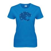 Ladies Sapphire T Shirt-Jaguar Head Rhinestones