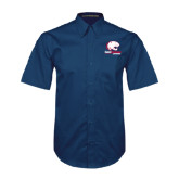Navy Twill Button Down Short Sleeve-Official Logo