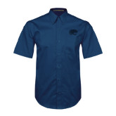 Navy Twill Button Down Short Sleeve-Jag Head