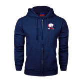 Navy Fleece Full Zip Hood-Official Logo