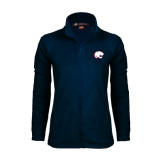 Ladies Fleece Full Zip Navy Jacket-Jag Head